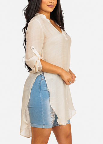 High Low Lightweight Cream Tunic Top