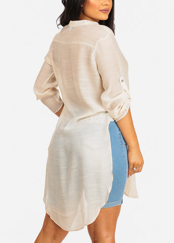 Image of High Low Cream Top