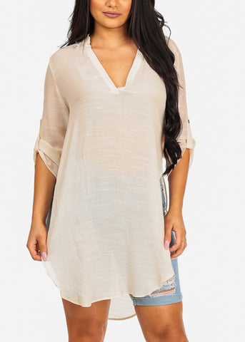 Image of High Low Lightweight Cream Tunic Top