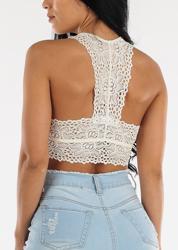Ivory Floral Lace Bralette