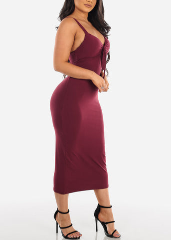 Sexy Sleeveless Burgundy Padded Sweetheart Bust Bodycon Tight Fit Below The Knee Bodycon Midi Dress