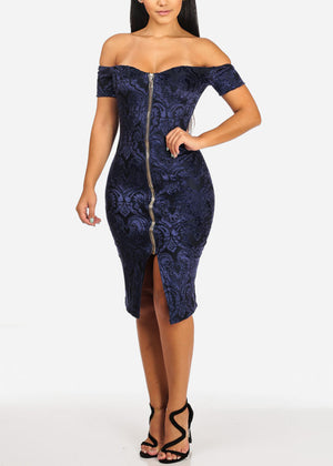 Off Shoulder Navy Velvet Dress
