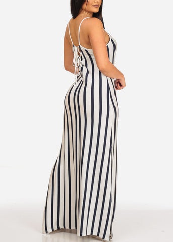 Women's Stylish Sexy Stretchy Summer Sun White Stripe Maxi Dress