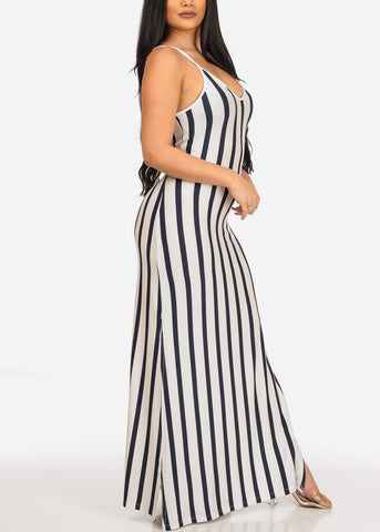 Image of Women's Stylish Sexy Stretchy Summer Sun White Stripe Maxi Dress