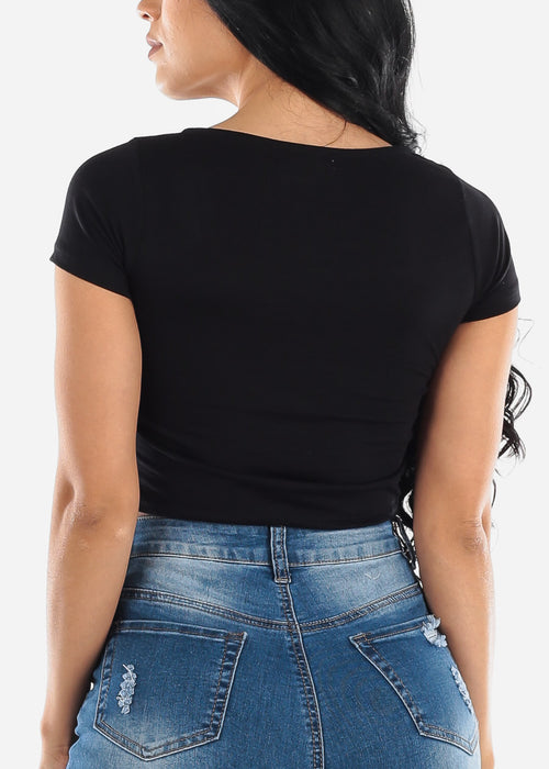 Square Neck Black Crop Top