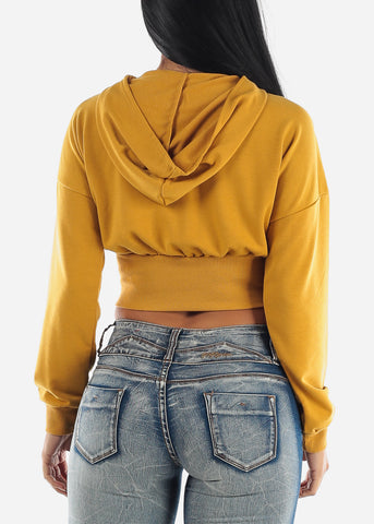 Image of Long Sleeve Mustard Cropped Hoodie