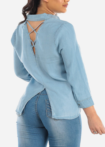 Image of Lightweight Long Sleeve Front Tie Knot Back Strappy Design Light Wash Denim Button Up Top