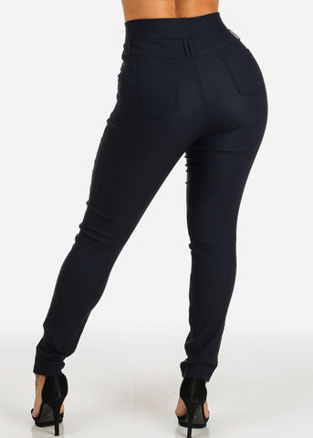 Image of Navy High Rise Slim Fit Skinny Pants