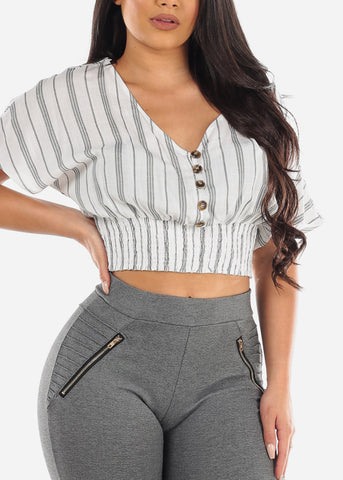 Image of Lightweight Loop Button Up White Stripe Crop Top For Women Junior