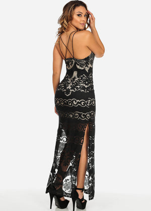 Spaghetti Strap Lace Maxi Dress