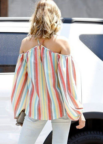 Image of Diagonal Spaghetti Strap Multicolor Striped Top