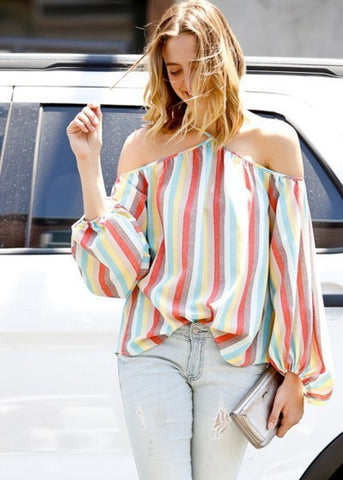 Diagonal Spaghetti Strap Multicolor Striped Top