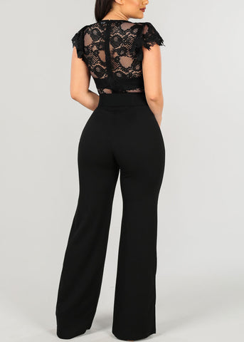 Image of Sexy Belted Black Jumpsuit