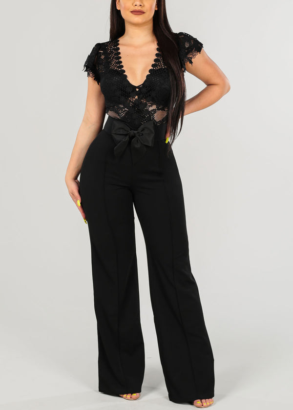 Sexy Belted Black Jumpsuit
