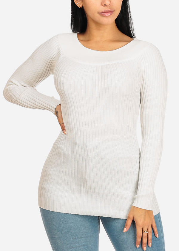 Long Sleeve Off Shoulder Ribbed Knitted Top