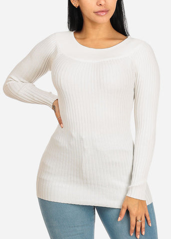 Stylish Long Sleeve Off Shoulder Ribbed Knitted Off White Top