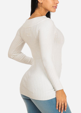 Image of Stylish Long Sleeve Off Shoulder Ribbed Knitted Off White Top