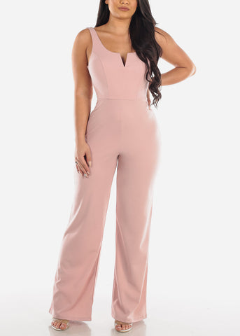 Image of Sexy Sleeveless V Neckline Slick Pink Mauve Stretchy Jumper Jumpsuit