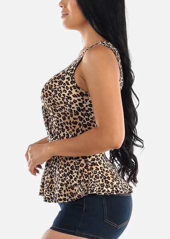 Sleeveless Animal Print Peplum Top
