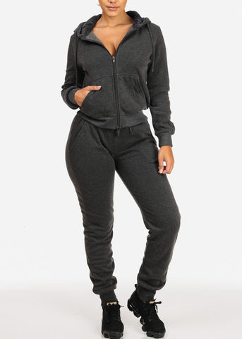 Image of High Rise Charcoal Jogger Pants