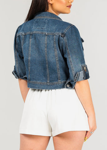 Women's Junior Ladies Must Have Long Sleeve Button Up Med Wash Vintage Denim Cropped Crop Jacket For Women