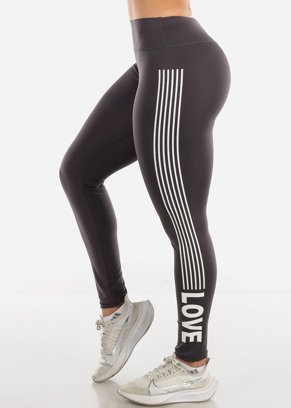 Activewear Grey Stripe Leggings