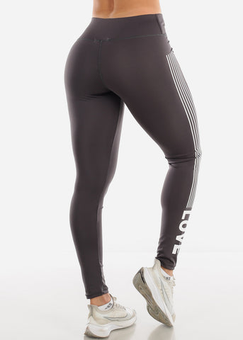 "Activewear Grey Stripe Leggings ""Love"""