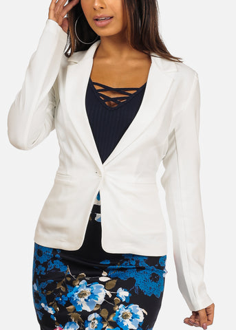 Classic One Button Long Sleeve White Blazer