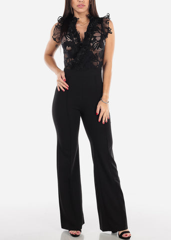 Black Ruffle Trim Jumpsuit