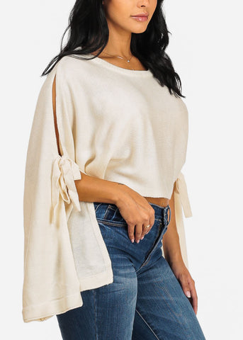 Cozy Knitted Cream Cropped Sweater Top