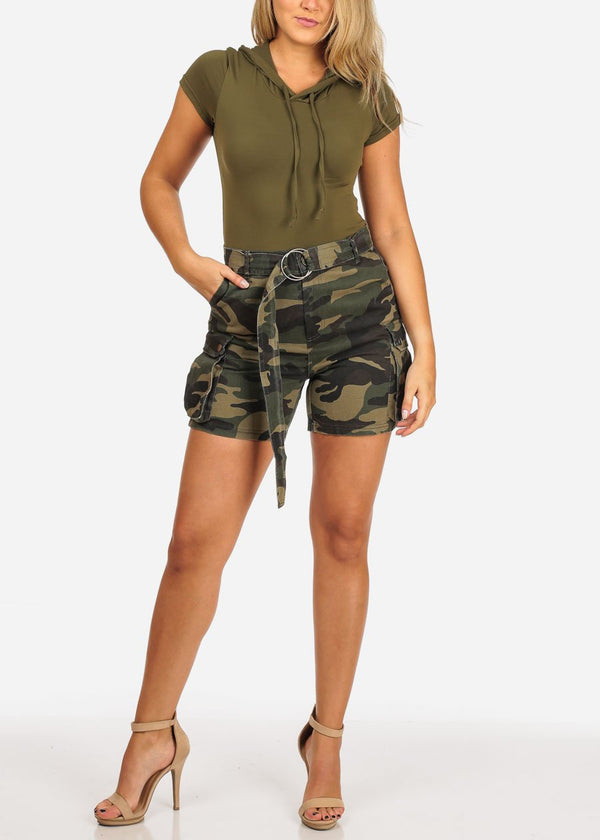 Hooded Olive Bodysuit