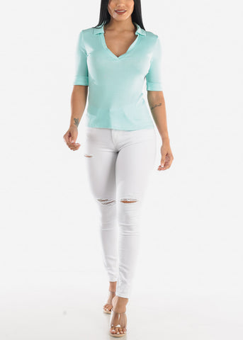 Image of Stretchy Mint Collared Top