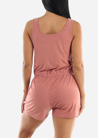 Pink Sleeveless Romper