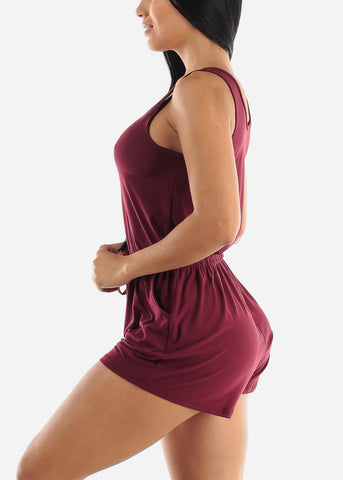 Burgundy Sleeveless Romper