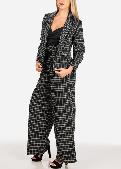 Women's Junior Going Out Business Career Wear Black Plaid Print Blazer And Pants (2 PCE SET)