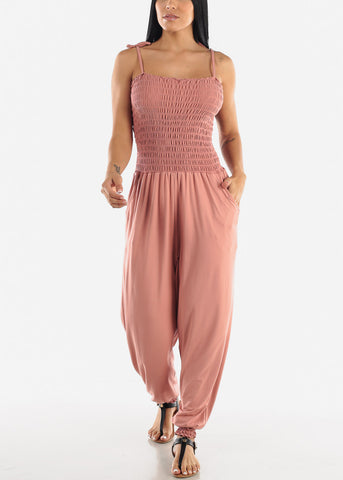 Sleeveless Pink Jumpsuit