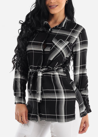 Image of Half Button Up Black Plaid Top
