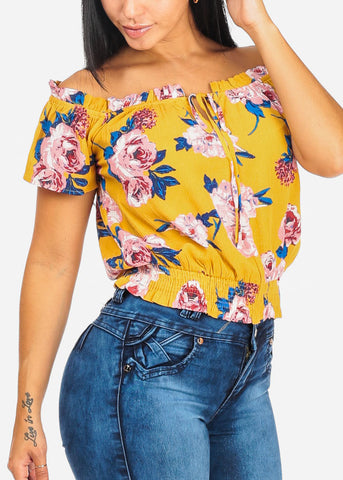 Floral Mustard Blouse W Elastic Waist