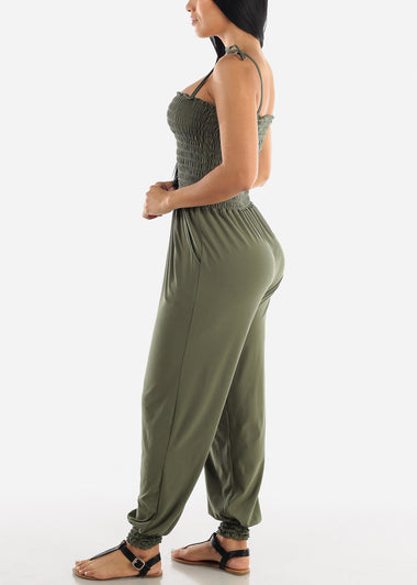 Sleeveless Olive Jumpsuit