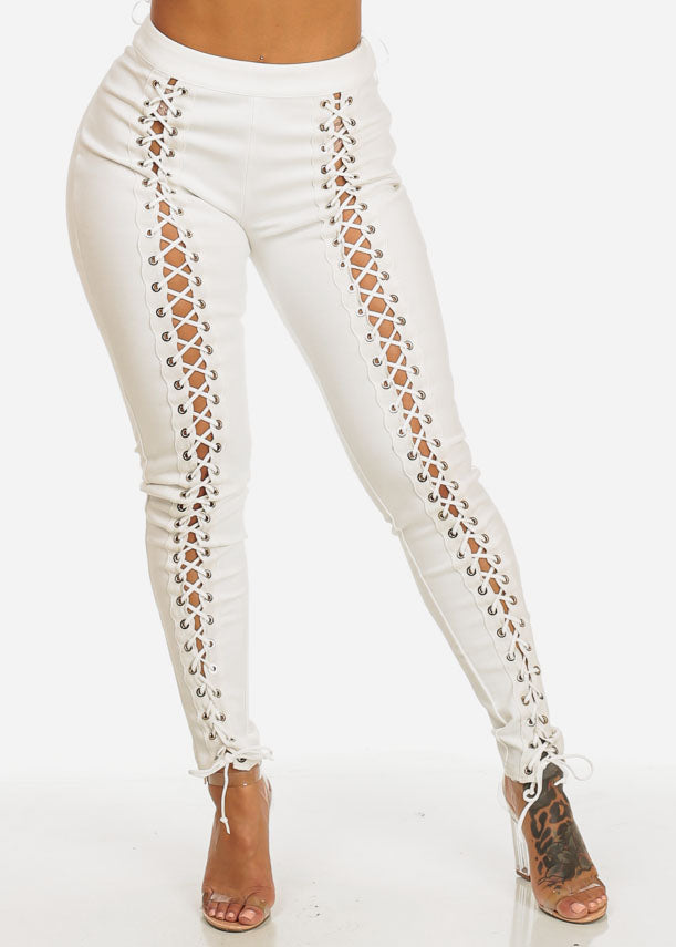 White High Rise Lace Up Skinny Pants