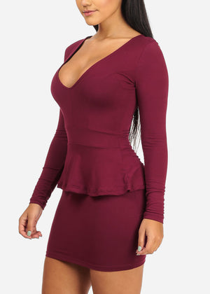 Super Sexy Burgundy Ruffle Mini Dress