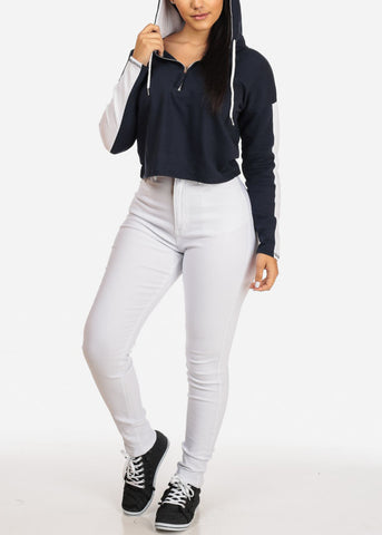 Navy Cropped Pullover Sweatshirt