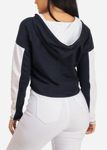 Image of Navy Cropped Pullover Sweatshirt