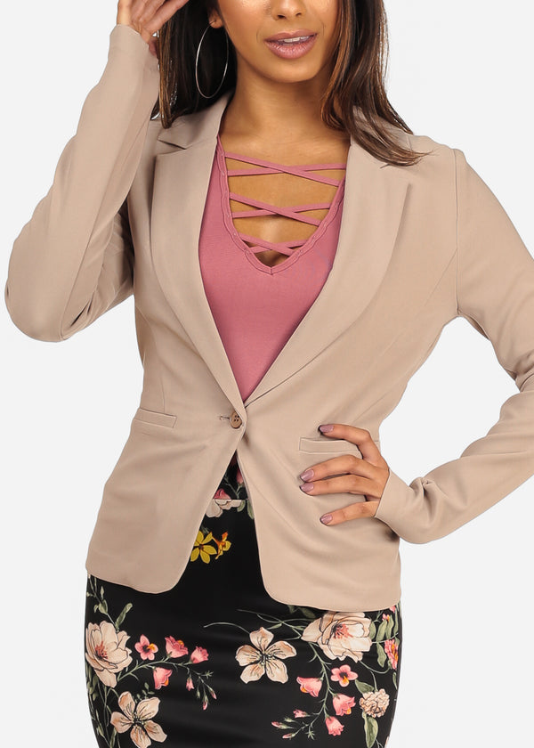 Classic One Button Long Sleeve Taupe Blazer