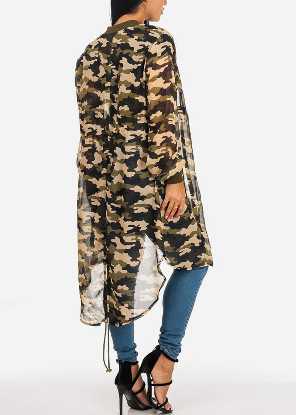 Stylish See Through Camouflage Cardigan