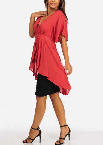 Lightweight Short Sleeve V Neckline Button Loop Closure High Low Coral Top
