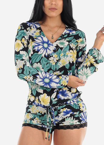 Image of Black Floral Romper