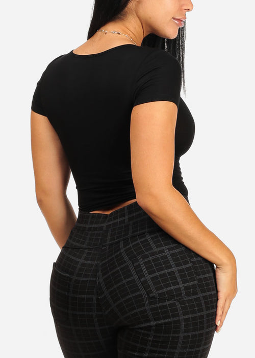 Basic Ruched Front Black Crop Top