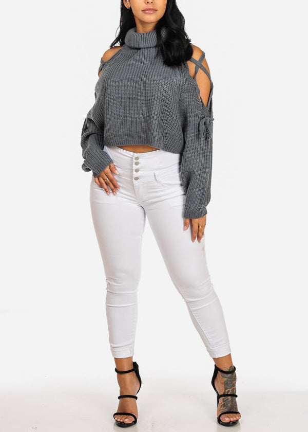 Blue Knitted Turtleneck Sweater Crop Top