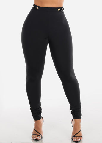 Black High Rise Dressy Skinny Pants